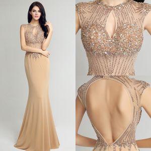 Nueva alta calidad de la manera cuello redondo de la sirena del baile de tul largo Champagne cabestro Grande-mano con cuentas partido de la falda Fishtail vestidos de noche DH39