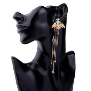 creative long ring tassel earrings 925 Sterling Silver Cute Bee Drop long dangle white tassel earrings for Women jewelry for Teen Girls gift