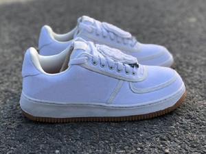 La mejor calidad 1 Bajo una blanca metálica de plata zapatos atléticos de la nueva manera de Cactus Jack Sport zapatillas de deporte de la nave con la caja doble