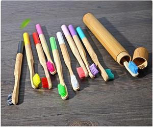 17 цветов Bamboo зубная щетка комплект с Bamboo Tube Мягкая щетина зубных щеток Зубные путешествия Упаковка для взрослых гигиена полости рта Отбеливание