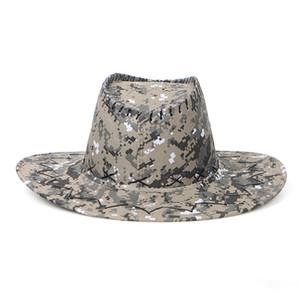 Kamuflaj Kovboy Şapka Süet Kamuflaj Batı Şövalye Şapka Retro Brim Açık Yaz Plaj Seyahat Şapka OOA7431-5 Caps