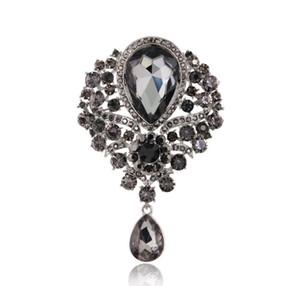 Mulheres New Hot-selling Designer De Água Liga de Diamante Broche Acessórios para Europeus e Americanos Moda Pingente De Vidro Broche Pinos