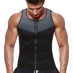 DIHOPE de alças homens Sauna colete musculação roupas suadas cintura instrutor de fitness treino de ginásio Zipper Vest bodyshaper