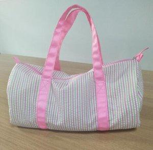Commercio all'ingrosso 18 * 9 * 9,5 borsa da viaggio Duffle Bag pollici personalizza grigio seersucker Blanks bambini Barrel Bag Preppy per bambini
