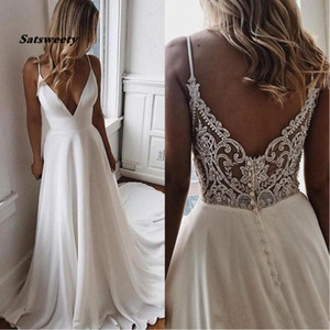 Simple V Neck Chiffon A Line Boho Beach Wedding Dresses 2020 Beaded Applique Formal Bridal Gowns Cheap Custom Bride Dress Vestidos De Novia