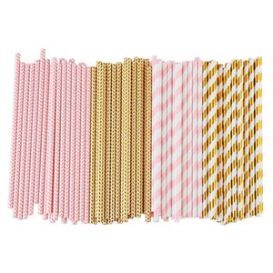 Biodegradable Paper Straws, 100 Pink For Party Supplies, Birthday, Wedding, Bridal Baby Shower Decorations And Holiday Celebra