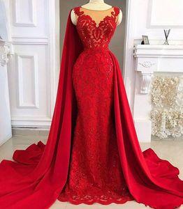Kırmızı Dantel Leke Mermaid Akşam Pageant Elbiseler Ile Uzun Cape 2020 Modern Overskirt Afrika Sheer Boyun Fırtına Balo Abiye