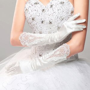 Long Full Finger Satin Bridal Wedding Gloves Elbow Length Lace Appliqued Woman Bride Party Gifts Accessories For Cosplay Prom