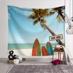 Fashion Home Mountain Palm Tree Tapestries Landscape Wall Hanging Shell Tropical Yoga Decor Tapestry w3-new-Le-2