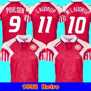 1992 Danemark Retro Accueil 1992 Euro danois maison Jersey Lauder Povlsen classique finale 92 Soccer Jersey du Danemark Retro Hommes M. Laudrup 10