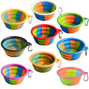 실리콘 Collapsible 개 고양이 그릇 강아지 애완 동물 휴대용 여행 그릇 Foldable 애완 동물 음식 물 그릇 카 모 피처리 접시 먹이 C71902