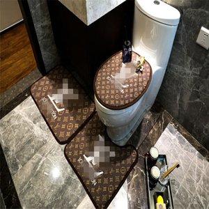 Nueva cubierta de asiento de inodoro de pie Mat Carta clásico patrón de la manera Baño Mats antideslizante funda de asiento de alta calidad 3PCS