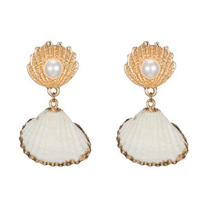 Natural Shell Earring For Women Imitation Pearl Earring Statement Geometric Earrings Gold Color Fashion Jewelry