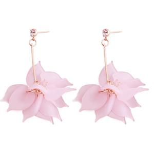 Meilleure dame nouvelle résine rose fleurs Za boucles d'oreilles pour femmes filles Brand Design mignon printemps fête de mariage Drop Dangle boucles d'oreilles