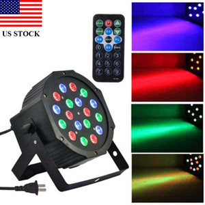 Projector Lamp Remote 18-LED Red Green Blue Light Voice Control Parcan Projector Lights for Stage Lighting C0207 US STOCK