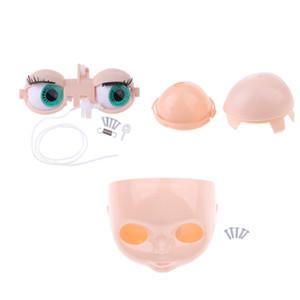 Cabeza de la muñeca del cuero cabelludo Shell 4 colores Mecanismo Ojos chips sistema entero de Neo Blythe Takara DIY accesorios personalizados