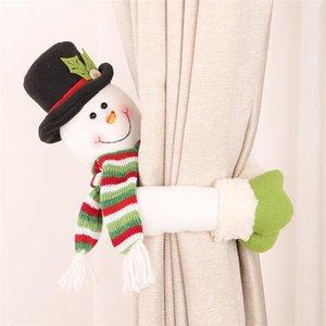 Beau Père Noël Bonhomme de neige rideau Buckle Décoration de Noël pour la maison Nouvel An Party Décor tissu Jouets Table Poupées Décoration