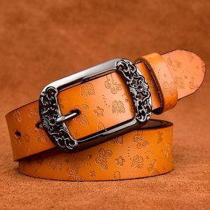 GFOHUO New Designer Mode Damengürtel echtes Leder Marke Straps Female Waistband Pin Buckles Fancy Jahrgang für Jeans