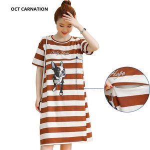 2019 Sıcak Satış Doğum Sonrası Kıyafetleri Hamile Kısa Kollu Üst Düz Elbise Artı Boyutu Emzirme Kontrast Renk DressesMX190910