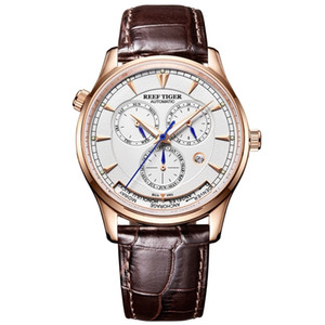 Мужские автоматические часы Reef Tiger / rt с датой и днем месяца. Кожаный ремешок из розового золота. Двойные часы Rga1951 C19041101.