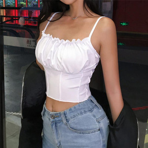 Sexy Summer Women Ruffles Tank Top Fashion Ladies Sleeveless Strapless Ruched Slim Crop Top Camisole Female Clothing Tanks