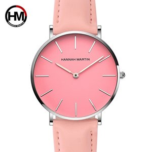 Women Waterproof Watch Fashion Designer Casual Leather 36mm Wristwatches Pink Simple Japan Quartz Movement Relogio Feminino 2018