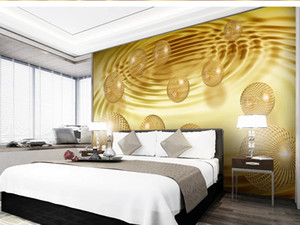 Custom large mural 3D wallpaper Modern creative 3D space abstract sphere gold yellow bedroom TV back wall roll home decor deep 5D embossed