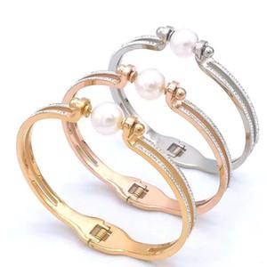 Brazalete de perlas de boda para las mujeres de lujo de la joyería pulseras brazalete del acero inoxidable chica mejor regalo de cumpleaños de calidad superior