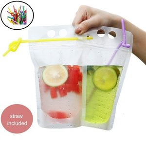 wholesale-- Disposable Juice Coffee Liquid Bag Kitchen Vertical Zipper Seal Drink Bag Clear Drink Pouches With Straw Party Tableware