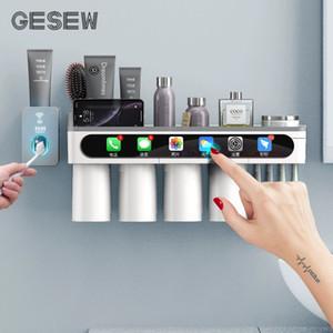 Titolare GESEW spazzolino forte adsorbimento magnetico Coppa impermeabile libero di punzonatura Spazzolino casa Telaio Bagno Accessorie Set