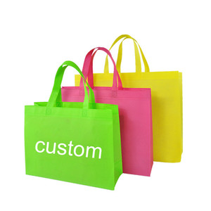 Varejo atacado sacolas sacos reutilizáveis sacos de produtos de cor sólida Material de pano personalizado saco de compras logotipo personalizável sacola de compras