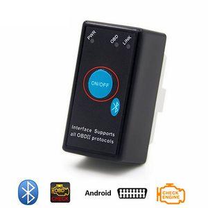 Super mini ELM327 Bluetooth V1.5 Interrupteur d'alimentation 16 broches OBD2 Lecteur de code ELM 327 Outil de diagnostic Lecteur de code automatique ELM327 Outil d'analyse
