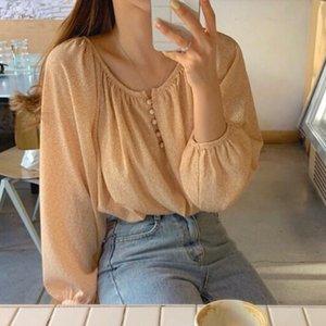 Gagarich Korean Chic Elegant Print Blouse Women O Neck Long Sleeve Holiday Blusas Spring 2020 New Pullover Shirt