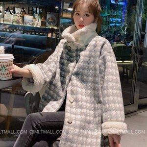 ALABIFU 2019 осень зима куртка женщин пальто способа вскользь Карманы Сыпучие Верхняя одежда Плюс Размер jaqueta feminina