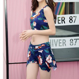 Tankini floreale Donna del bikini Tankini maggio coreano gonna poliestere donne Swimsuit Swimwear donne coreane Sierra Surfer Mujer