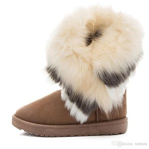Winter women's ankle boots winter womens fox fur wedges shoes in Australian style female Boots. XDX-072