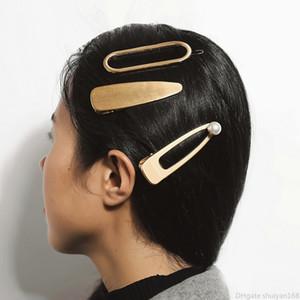 Mode Perle en métal clip Hair Design géométrique Hairpin Barrettes Couleur Or Argent Femmes Filles Accessoires cheveux Pin Ornement de bijoux
