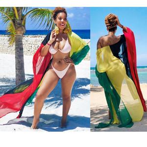 Cover-ups Colourful Chiffon Beach Cover Up Women Kaftan Long See Through Kimono Summer Holiday Beachwear Ladies Dress Coverups
