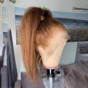 선염 컬러 변태 스트레이트 레이스 전면 머리카락 가발 1B / 천연 헤어 라인 13 * 4 레미 브라질 사순 밥 27 130 %