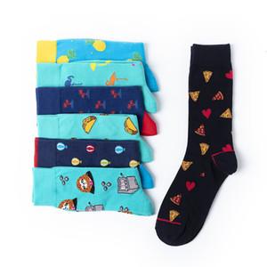Calcetines de boda ocasional divertido vestido peinado de algodón Harajuku estilo feliz calcetines de los hombres de colores Globo pizza de la novedad del monopatín Calcetines