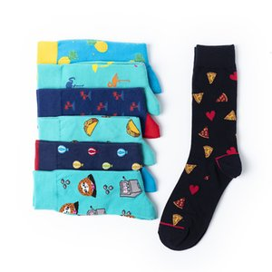 Harajuku Style Happy Socks Men's Funny Combed Cotton Dress Casual Wedding Socks Colorful Balloon Pizza Novelty Skateboard Socks
