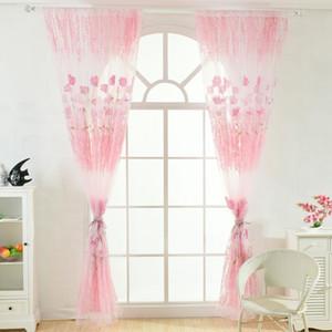 Fenêtre Birthday Party rideaux 1m * 2m Sheer Tulle Pour Chambre Voile Salon Balcon Imprimé Tulip Motif Sun -Shading Rideau