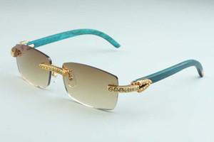 20 novos óculos de sol do templo naturais verdes de madeira, 3524012-C7 luxo amarelo grande diamante de luxo óculos tamanho: 56-18-135mm óculos de sol