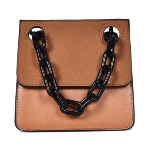 Casual Acrylic Chain Plaid Shoulder Bag Lady Handbag Messenger Bag Small PU Leather Flap Crossbody Bag