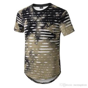 Mens High Street Ярус Tshirts Summer Designer O-образный вырез Длинных отверстия печатных тройники короткого рукав
