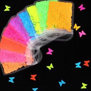 9 bag set Fluorescence Butterfly Nail Art Glitter Flakes Summer Neon Pigment Heart Sequins Gel Manicure DIY Nail Decorations