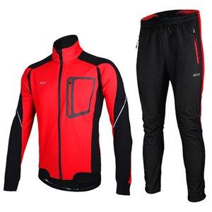 El invierno caliente termal a prueba de viento chaqueta y pantalones de ciclismo Cuzaekii los hombres de la bicicleta de la bici MTB Set Ropa de deporte verde azul rojo