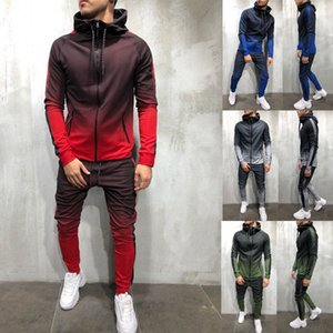 2018 Fall Winter Warm Men Two Pieces Tracksuit Outdoor Casual Gradient Long Sleeve Hoodies Ankle-length Pant Set M-3XL