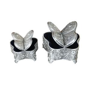 Elegante Schmetterlings-Shaped Schmuck Storage Box Antike Metallschmuckschachtel mit Rose Gravur Vintage-Aufbewahrungs Geschenke für Mädchen