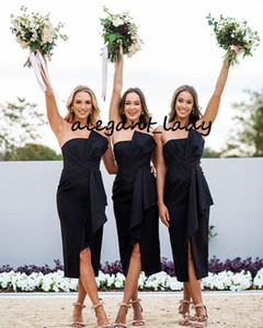 Strapless Pleated Beach Bridesmaid Dresses 2020 Ankle Length Split Summer Holiday Maid of Honor Wedding Guest Dress